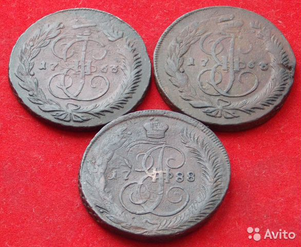 Петровская деньга, 5 копеек 1780 года, две копейки 1757 года перечекан