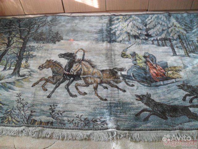 """Винтажный коврик """"Тройка лошадей и волки"""" — фотография №1"""