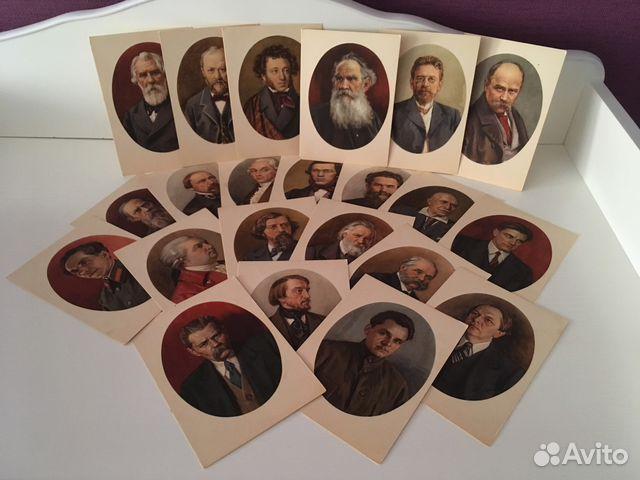 Набор открыток с портретами русских писателей, шаблон открытка леди
