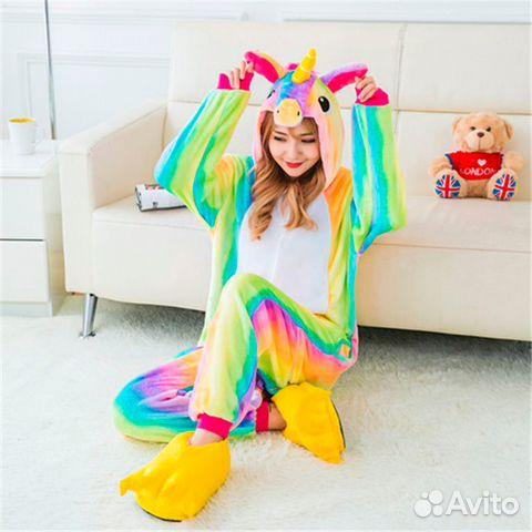 Новая. Пижама Кигуруми радужный единорог (и др) c11f44e8699ea