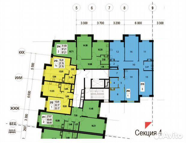 6-к квартира, 107 м², 2/7 эт.