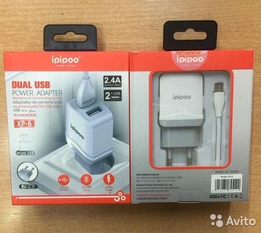 84942303606  Блок питания + USB кабель Android XP-6 iPiPoo 2 US