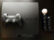 PlayStation 3 slim 160Gb + 5 psmove и 5 игр