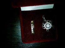 Кольцо, кулон, цепочка. Серебро с фианитами. Обмен